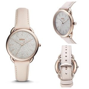 Fossil watch, glitter face, cream band, NWT